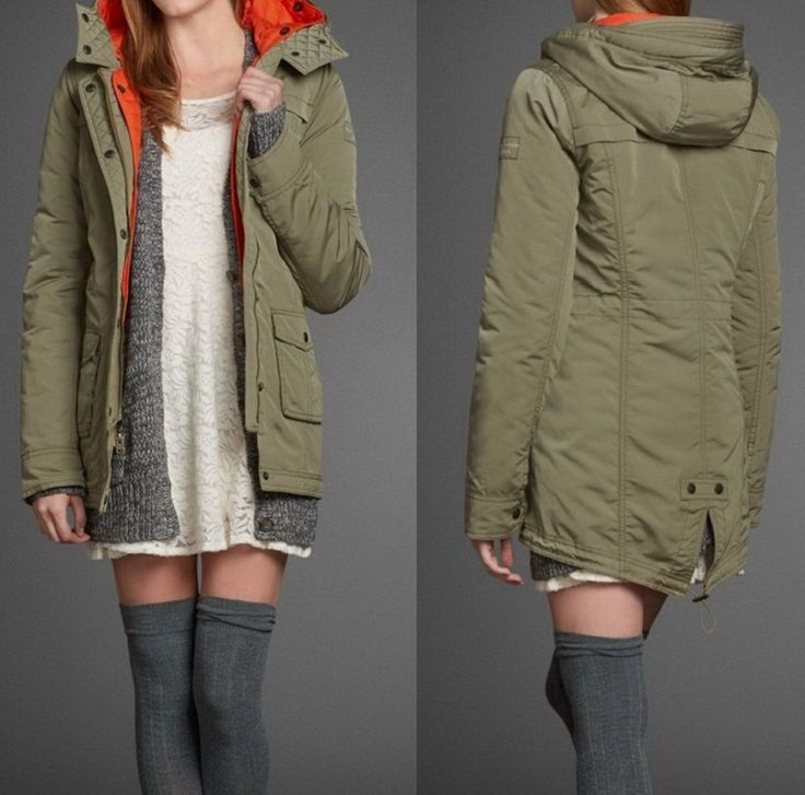NWT Abercrombie Fitch Women's Parka Jacket Coat Outwear, Olive size: M #AbercrombieFitch #Parka