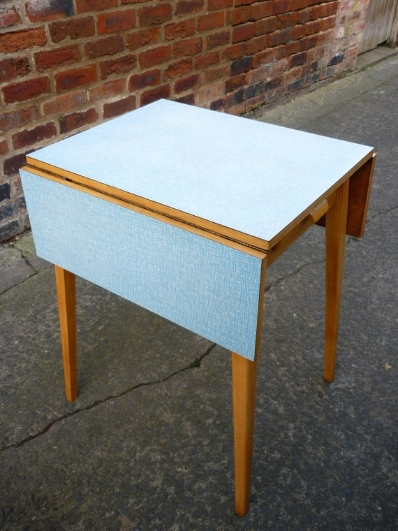 items similar to retro mid century blue formica beech drop leaf kitchen table on etsy - Drop Leaf Kitchen Table
