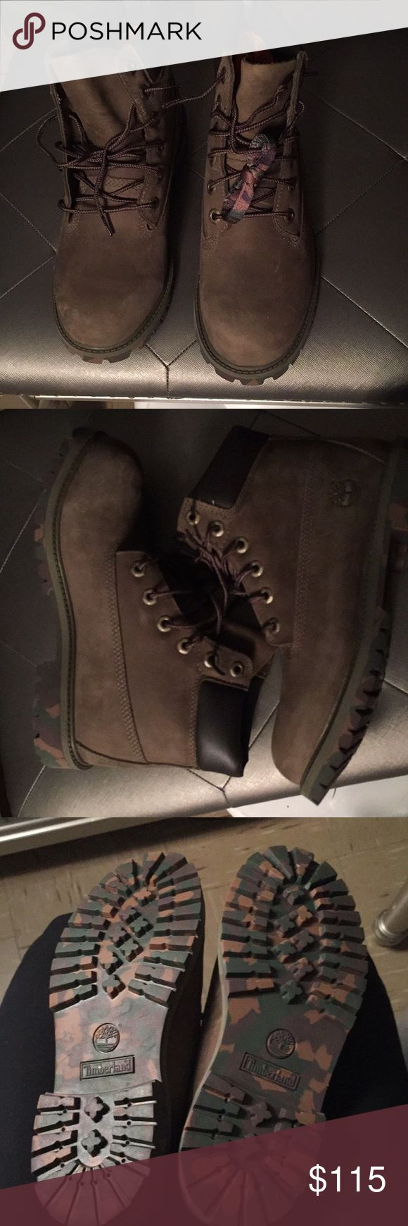 Timberland Olive Olive Timberland With Army Fatigue Bottom Kids Size 6Y Never Worn With Army Fatigue Shoelaces Timberland Shoes Boots