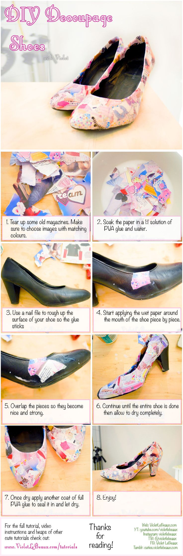 How to give boring shoes a make over into something more fun using magazines!  DIY Decoupage Shoes Tutorial | Violet LeBeaux- Cute Free Craft Tutorials