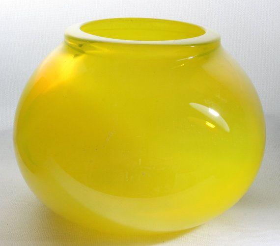 Small Translucent Closed Yellow Bowl Hand Blown by ElliottGlassArt, $60.00