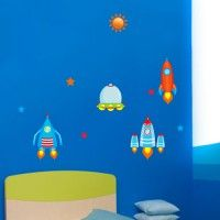 Space Rockets and Stars decal. Wall stickers are available at www.kidzdecor.co.za. Free postage throughout South Africa
