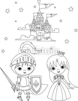 Medievale cavaliere e principessa da colorare