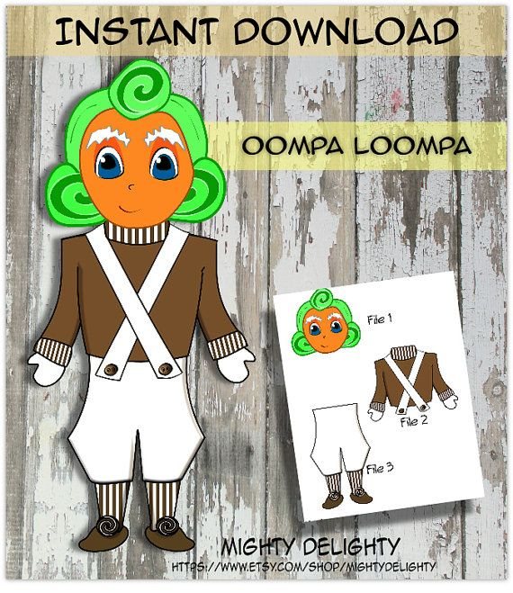 No physical items will be shipped- This listing is for a digital download----  ✨✨15% of purchase price can be credited back to you, if you send pictures of item in use! ✨✨  Having a Willy Wonka themed party??? Then these Oompa Loompa Decorations are a perfect addition!!  Available as an instant download, once payment is processed!! ~~Once payment is received you can also visit your ACCOUNT---> PURCHASES & REVIEWS--->click on Download for your purchased file.  This listing is for three PDF…