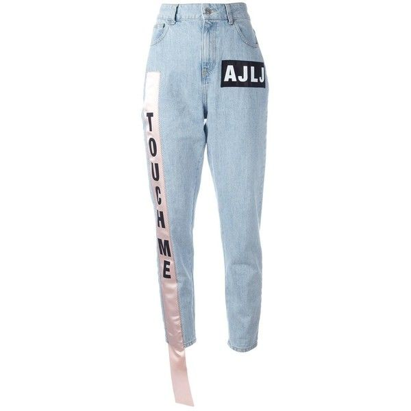 Au Jour Le Jour side stripe jeans ($490) ❤ liked on Polyvore featuring jeans, pants, bottoms, blue, au jour le jour, patterned jeans, print jeans, stripe jeans and striped jeans