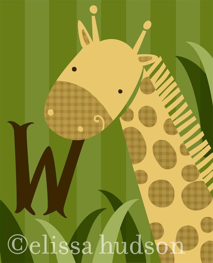Church Nursery Pictures Google Search: Jungle Giraffe Nursery Wall Art With Custom Initial. $28