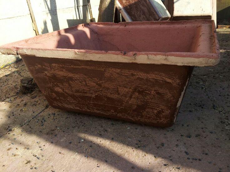 Pots painted too look like wood