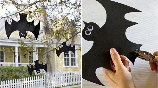 Décoration d'Halloween chauves-souris en suspension en papier