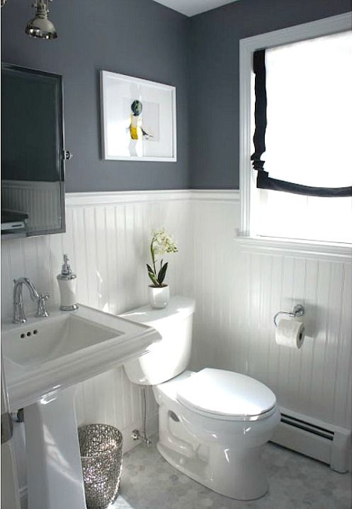 before and after updating a half bath and laundry - Bathroom Designs Using Beadboard
