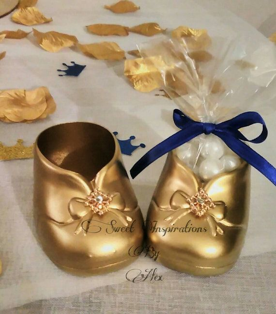 Golden Booties, Golden Shoes, Candy Holder, Royal Baby Shower Favors,  Welcome Prince, Welcome Princess, Welcome Baby