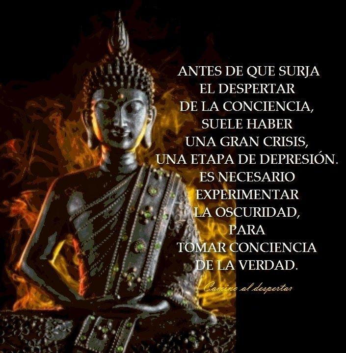 ... Antes de que surja el despertar de la conciencia, suele haber una gran crisis, una etapa de depresión. Es necesario experimentar la oscuridad, para tomar conciencia de la verdad.