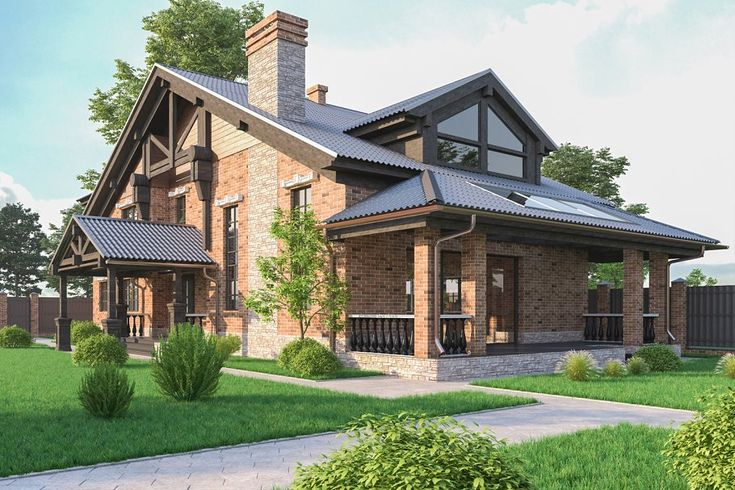 A Chalet house with a garage by profdesign on @creativemarket