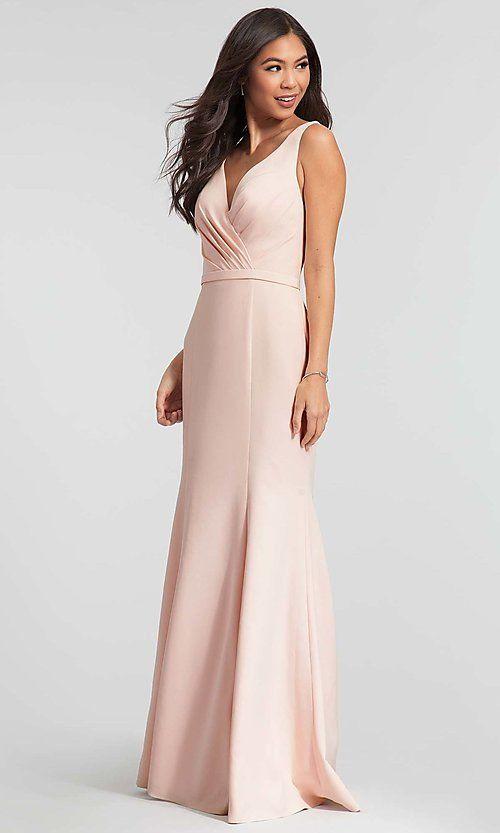 41163281d4 Brushed Satin Long V-Neck Kleinfeld Bridesmaid Dress  Limited ...