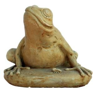 Null Cast Stone Frog With Bug Garden Statue Weathered Bronze