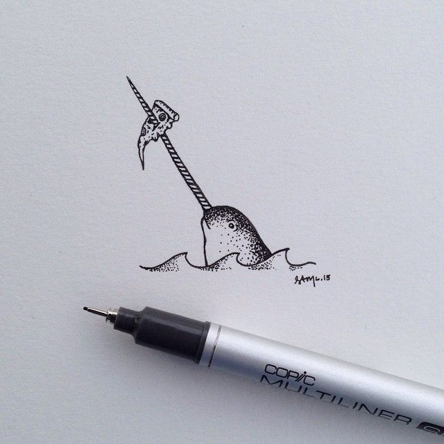 """Inspired by stick and poke art.  #Narwhal #AnimalsMunchingPizza  #PizzaOrDeath"""