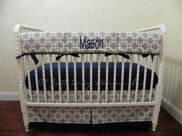 Baby Boy Crib Bedding Set Prentice - Baby Boy Bedding, Crib Rail Cover, Navy and Gray Baby Bedding by BabyBeddingbyJBD on Etsy https://www.etsy.com/listing/246738325/baby-boy-crib-bedding-set-prentice-baby