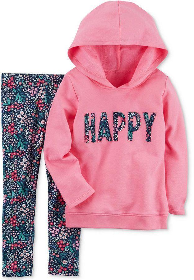 fbf411122611 Carter s 2-Pc. Happy Hoodie   Floral-Print Leggings Set
