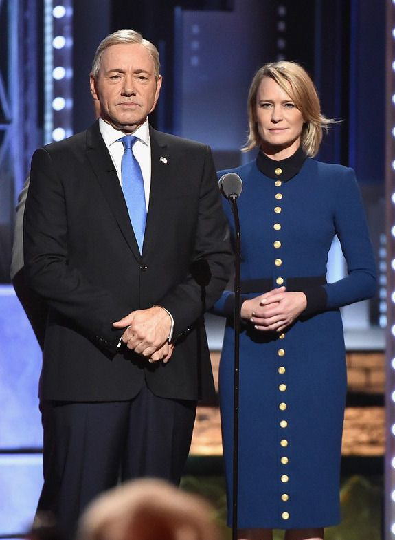 Kevin Spacey, Robin Wright, and Michael Kelly onstage at the Tony Awards. June 11, 2017