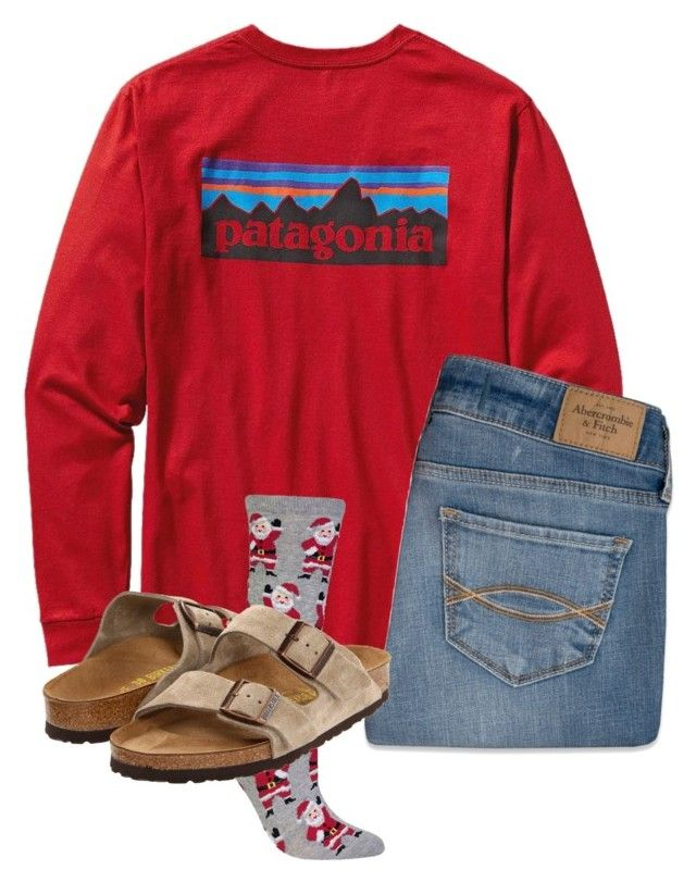 """Untitled #101"" by lhnlila on Polyvore featuring Patagonia, Abercrombie & Fitch, HOT SOX and Birkenstock"