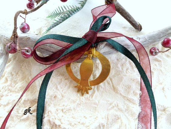 Brass Pomegranate Christmas ornament lucky by GeorgiaCollection, €24.00