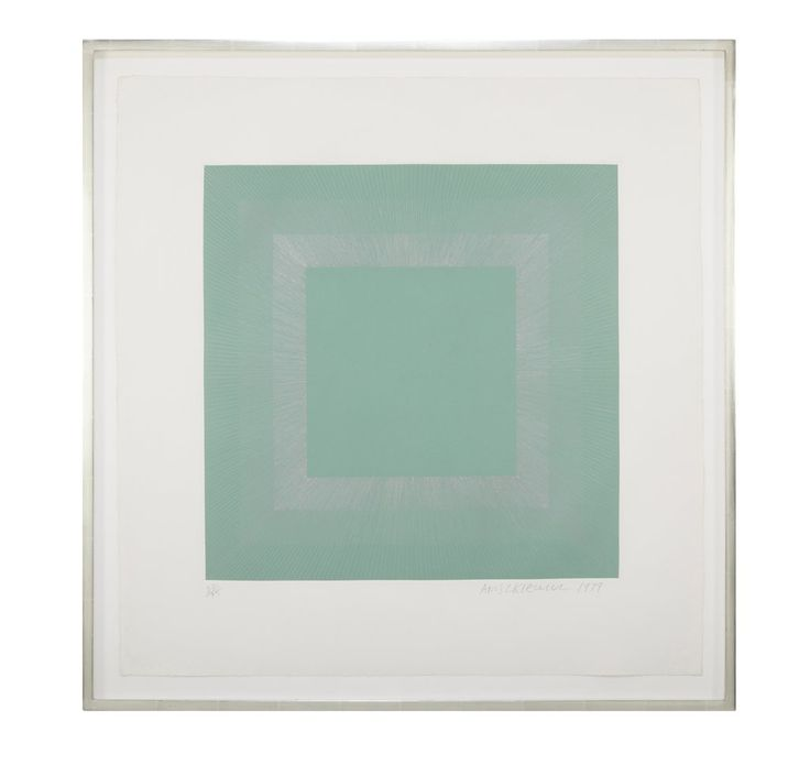 """Winter Suite"" (Green with Silver) an  intaglio etching and aquatint by Richard Anuszkiewicz  (American. 1930 - ).   Signed and dated 1979 lower right.  Numbered  22/95 lower left.  31.25 H x 30 W x 1.5 D"