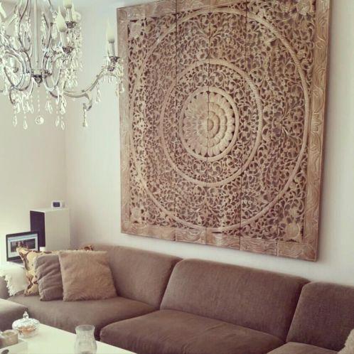 SIMPLY PURE houtsnijwerk wandpaneel 180x180 cm, kleur: whitewash