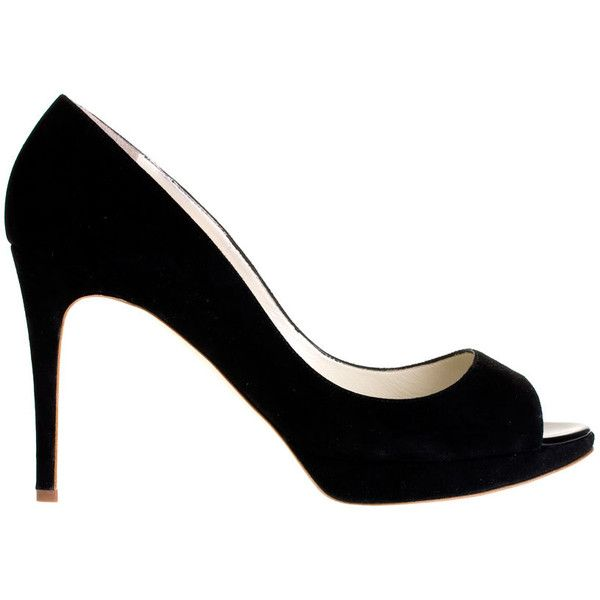 Rupert Sanderson Eclipse Suede Peep-Toe Pump ($343) ❤ liked on Polyvore featuring shoes, pumps, heels, black peep toe pumps, black shoes, high heel platform pumps, high heeled footwear and black high heel pumps