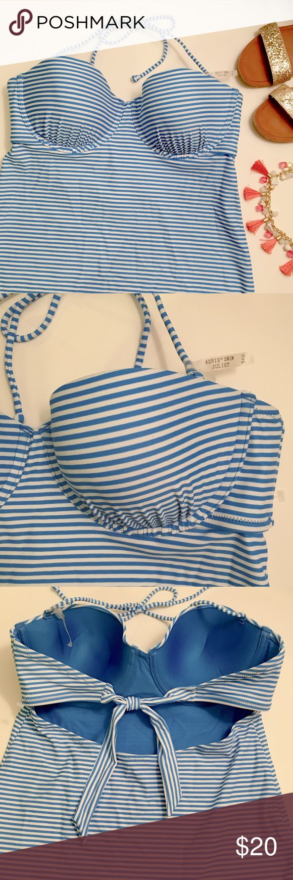 Aerie Blue and White Striped Tankini Top New! Never worn! Aerie Swim Juliet tankini top. Size 36C. Top fits like a large/x-large. String ties are removable. aerie Swim