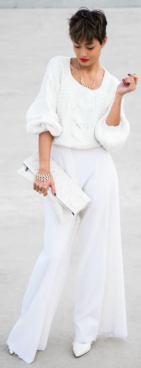 Winter White Wide Leg Trousers by Micah Gianneli