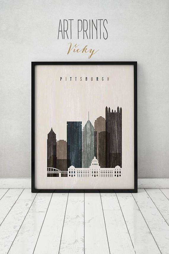 Pittsburgh skyline art print Poster Pittsburgh Wall art