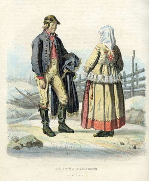 Folkdräkter från Äppelbo, Västerdalarna, Dalarna, Sverige. Plansch ur Svenska folkets seder, bruk och klädedrägter (1863) tecknad av Carl Anders Dahlström.