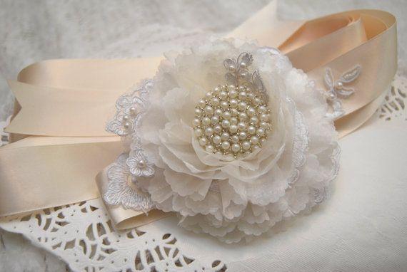 Bridal Belt Bridal Sash Ivory & White Lace by BridalBlushChampagne