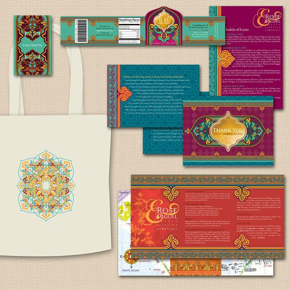 Moroccan Wedding Invites, love this color theme and the designs #gold #moroccanwedding