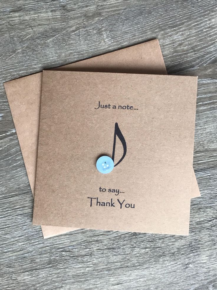 Music Note Button Art Thank You Card, Rustic Thank You Card, Birthday thank You, Christmas Thank You
