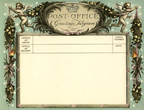Valentine's greetings telegram, issued 14th February 1936, designed by Rex Whistler.