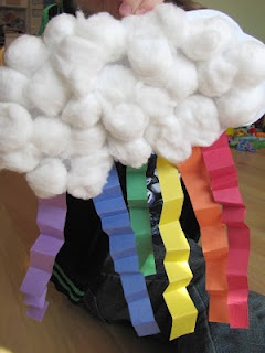 Easy Rainbow craft with cotton balls and construction paper