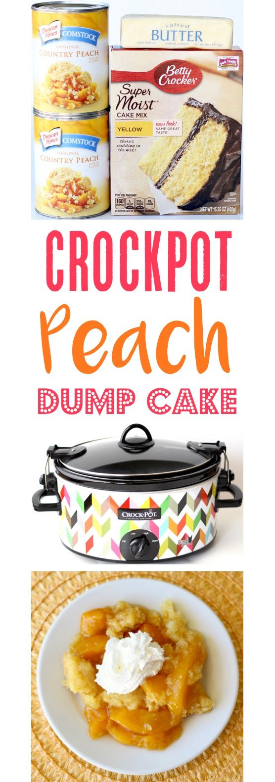 Peach Dump Cake Crockpot Recipe!  This EASY dessert is just 3 ingredients, and so simple using delicious pie filling and your slow cooker!  Always a hit with family and friends! | TheFrugalGirls.com