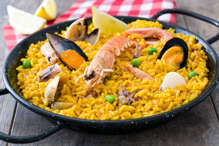 Traditional spanish seafood paella in Spain