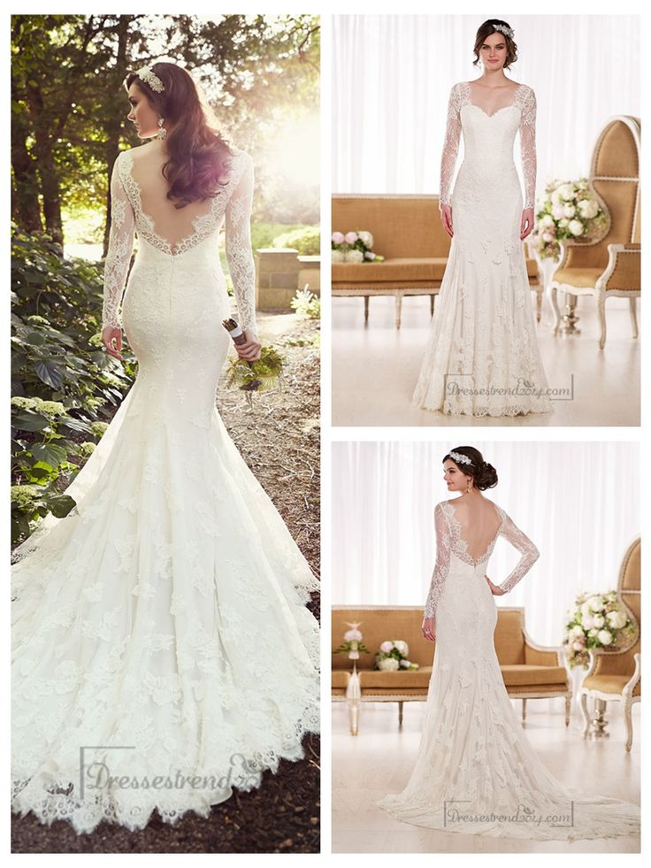 Illusion Long Sleeves A-line Lace Wedding Dresses with V-back