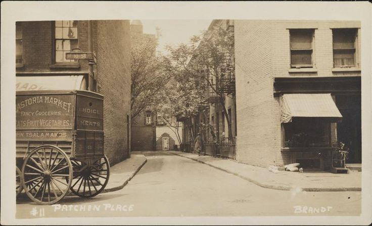 Patchen [Patchin] Place, Greenwich village, note the Astoria delivery vehicle.
