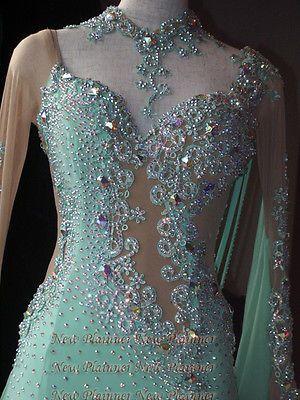 B4656-Ballroom-Standard-Waltz-Tango-swing-Prom-US-10-Dance-Dress-green-sleeve