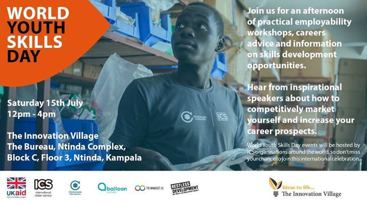 Tomorrow 15.July.2017 is World Youth Skills Day. I'm spending the day with International Citizen Service (ICS) Alumni from Challenges Worldwide Restless Development and Balloon Ventures in Uganda. Follow conversations through the day on Twitter Facebook & Instagram #WYSD #Uganda. Powered by: The Hangout UG.