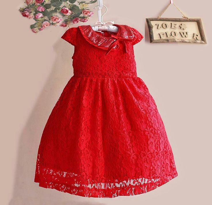 Dress zoe red lace, sz 3-8tahun