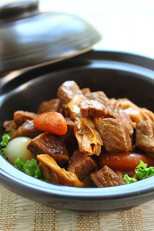 Cantonese Beef Stew - onion, garlic, carrots, soy sauce, sesame oil