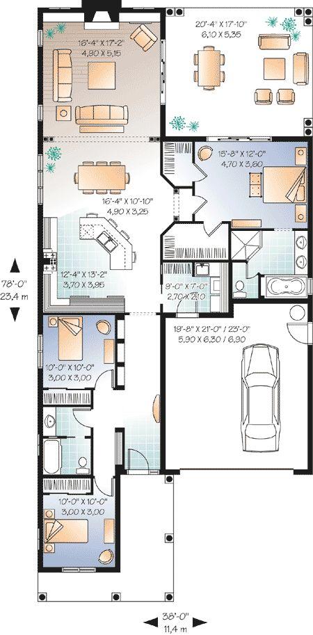 Plan 21650DR  Narrow Lot Florida House Plan   House plans  Florida and  Florida houses. Plan 21650DR  Narrow Lot Florida House Plan   House plans  Florida