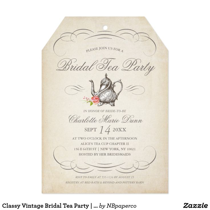 classy vintage bridal tea party bridal shower invitation card send your guests an invite they