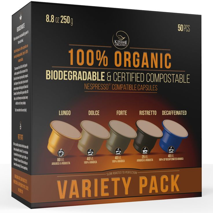 Nespresso Compatible Organic Coffee Capsules by Kiss Me Organics - 100% Biodegradable and Compostable made from Slow Roasted Organic Coffee Beans - 50 capsules (Variety Pack)