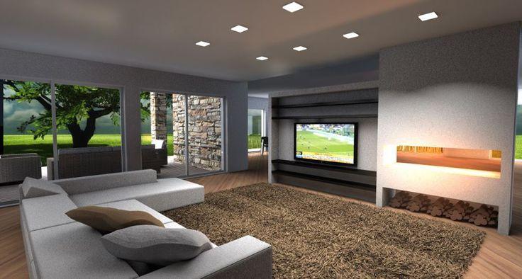 Este es el cuarto de estar. Hay un gran sofá, una gran alfombra, una televisión, cuatro ventanas y ocho luces. Cerca a la televisión hay una chimenea para  calentar el cuarto de estar en invierno.