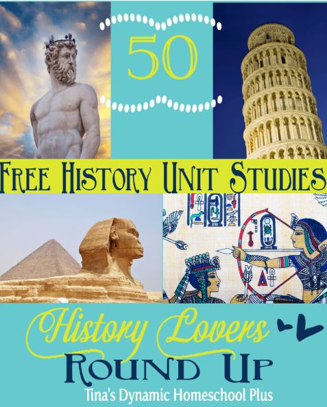 50 Free History Unit Studies–History Lover's Round Up #unitstudies #historyunitstudies #ihsnet