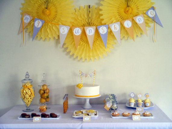 decorBaby Shower Desserts, Shower Ideas, Complete Printables, Baby Shower Theme, Sunshine Baby, Sunshine Parties, Printables Collection, Baby Shower Parties, Shower Complete